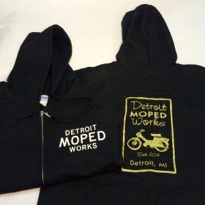 Black zip-up Detroit Moped Works Hoodie