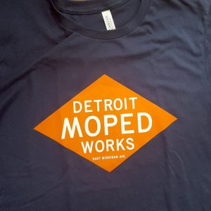 Navy Blue Detroit Moped Works Diamond Print T-Shirt
