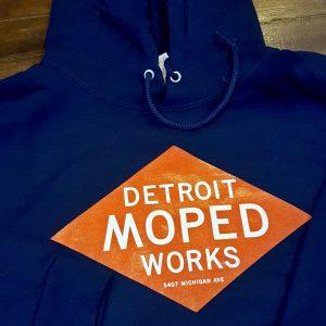 Navy Blue Detroit Moped Works Diamond Print Pull Over Hoodie
