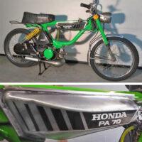 Reproduction Honda Hobbit tank decals, customized from PA 50 to PA 70. Photo courtesy of David Carroll.