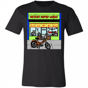 Bob's Burgers style Detroit Moped Works storefront shirt