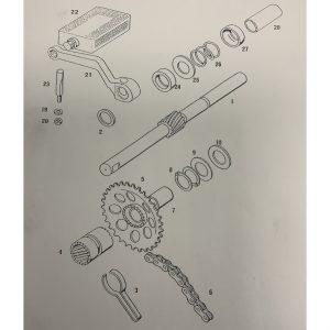 Tomos starter shaft – 270mm (used)